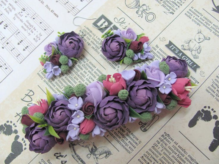 Set of Barrette and Earrings, Hair barrette, earrings, earring, automatic barrette, barrette , accessories, flovers, claycraft by deco, clay by MarinaShestorkina on Etsy