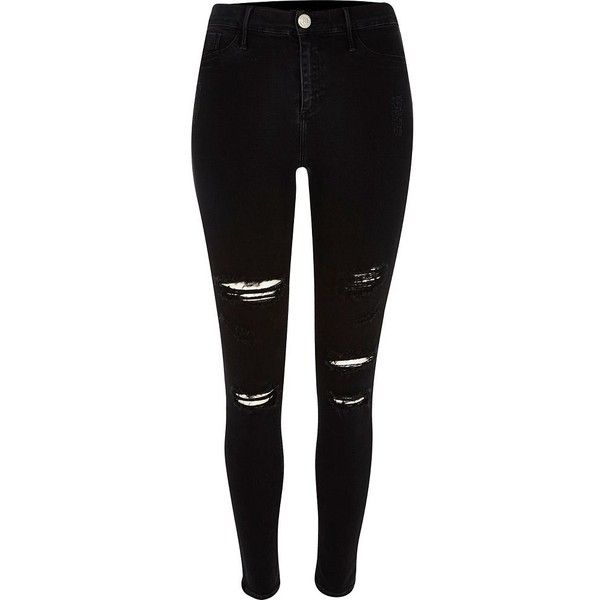 River Island Black super ripped Molly jeggings found on Polyvore featuring pants, leggings, jeans, black ripped jeggings, ripped leggings, black denim jeggings, black jean leggings and black skinny pants