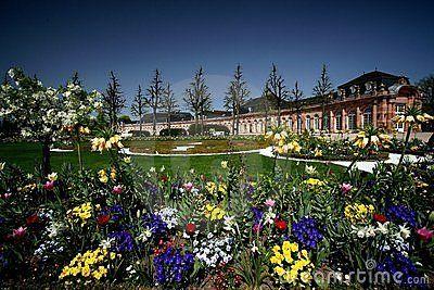 Spring flowers in the palace garden of Schwetzingen near Heidelberg, Germany.