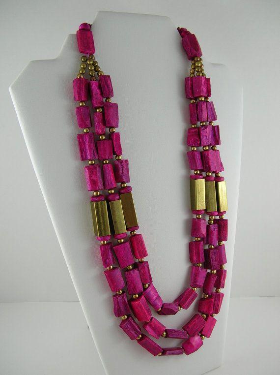 Vintage Fuschia Necklace 1980s 80s Modernist BIG Mod Retro Glam.
