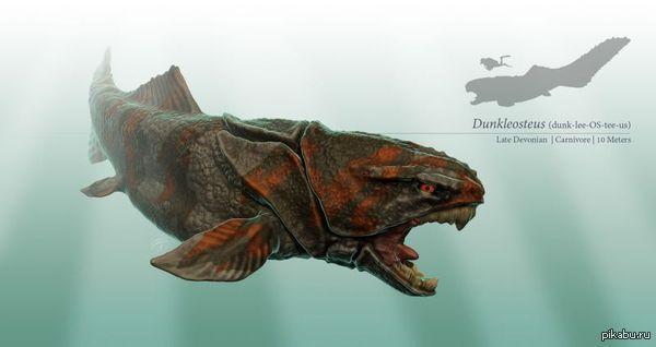 Dunkleosteus — род вымерших панцирных рыб отряда артродир класса плакодерм, живших в девонском периоде 415—360 млн лет назад. Размер его головы превышал метр, а длина всего тела была не менее 6 метров, иногда называют цифры 10 и 20 метров.