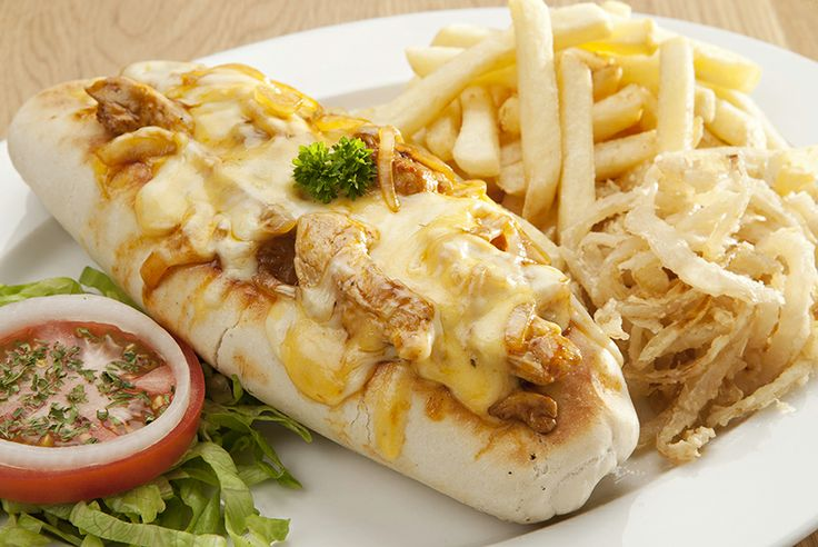 NEW Philly Cheesy Steak Baguette. A toasted baguette with tender beef or chicken strips, mixed with sautéed onions and BBQ or peri-peri sauce and topped with melted cheese. Spur Steak Ranches   http://www.spur.co.za/menu