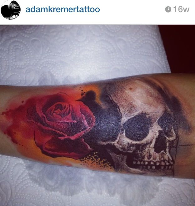 beautiful Girly skull rose forearm arm wrist coverup ...