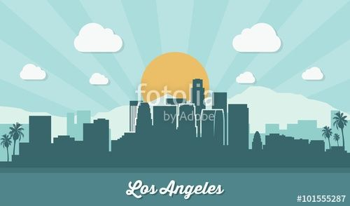 Vecteur : Los Angeles skyline - flat design
