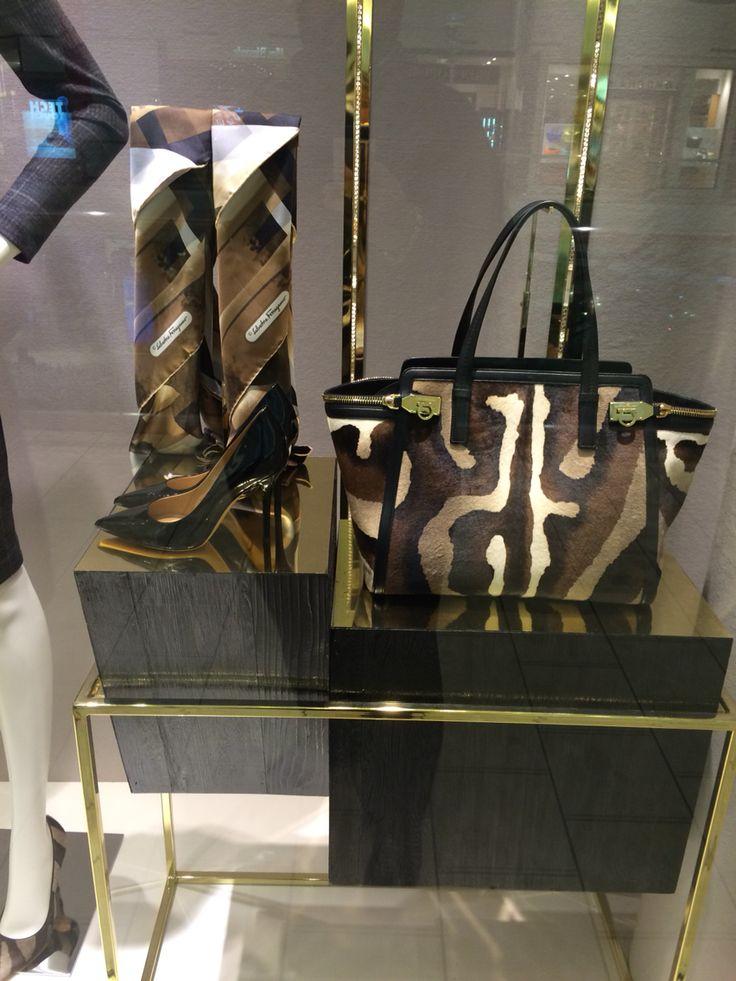 The window display at Salvatore #Ferragamo #ShortHillsMall NJ! #FashionHouse #Style #Accessories #Womenswear