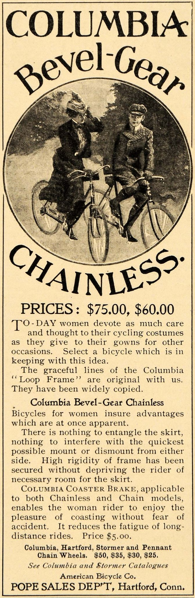 1900 Ad Columbia Bevel Gear Chainless Bicycle Bikes - ORIGINAL ADVERTISING LHJ4