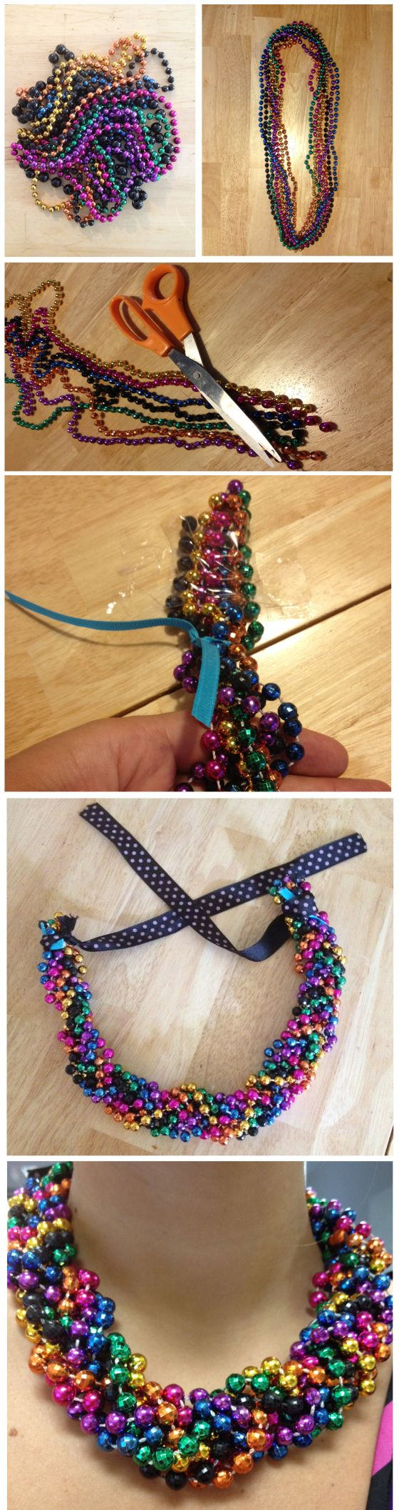 DIY Braided Mardi Gras Bead Statement Necklave