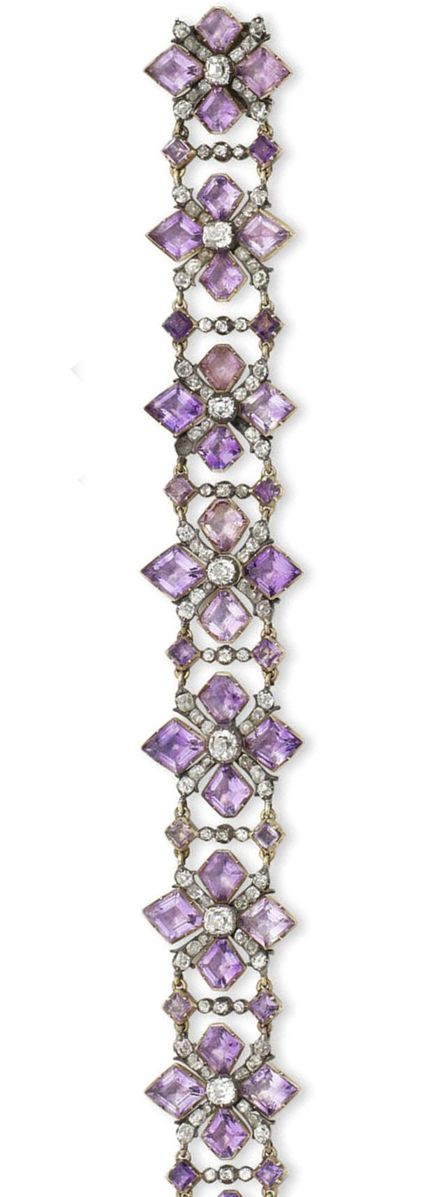 A rare 18th century amethyst and diamond bracelet. The openwork strap composed of kite-shaped amethysts and cushion-shaped and old brilliant-cut diamond quatrefoils, mounted in silver and gold, closed-back settings throughout, length 28.0cm, fitted and tooled leather case