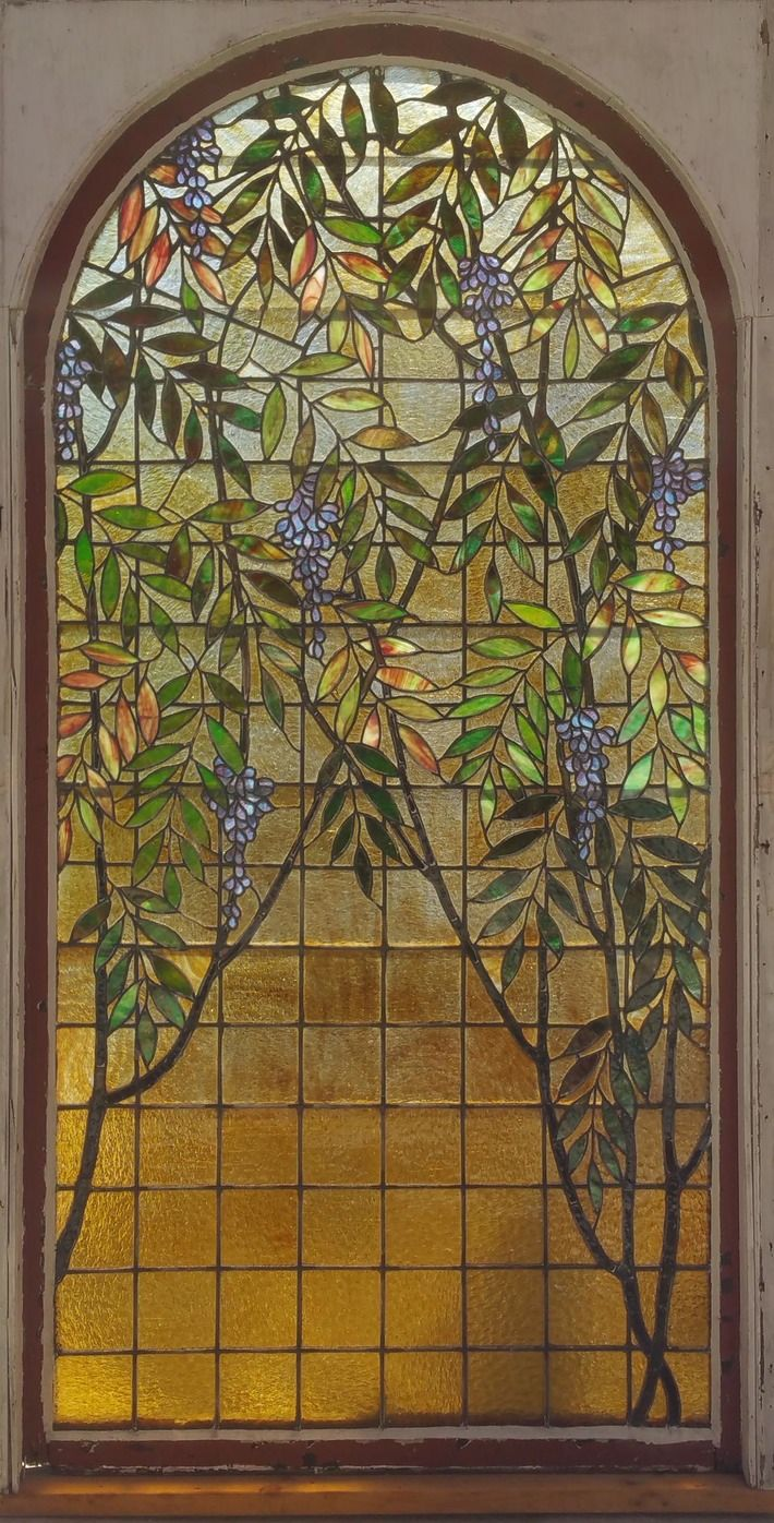 Antique stained glass doors - Antique American Wisteria Stained Glass Landing Window From Cincinnati Circa 1890