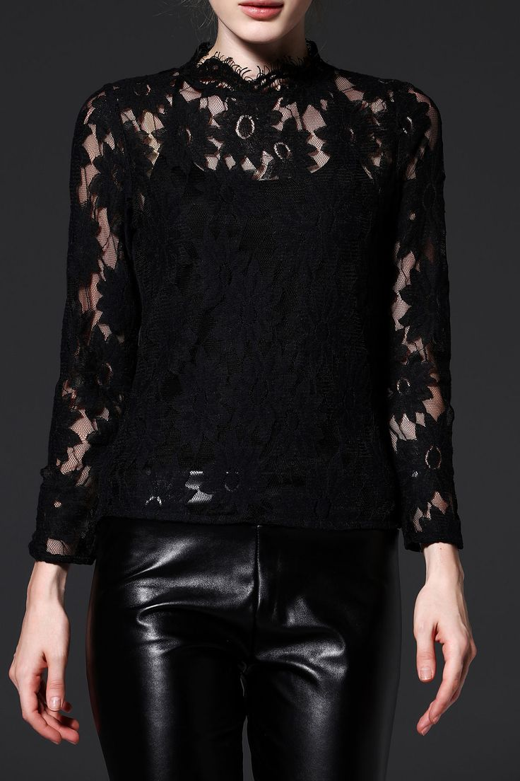 Oserjep Black See Through Long Sleeve Lace Blouse | Blouses at DEZZAL