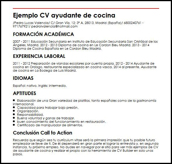 Curriculum Vitae Ayudante De Cocina Modelo De Curriculum Vitae