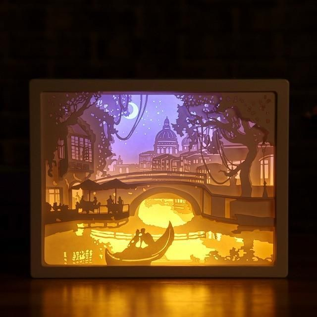 3d Light And Shadow Night Lamp Paper Carving Art Paper Carving Shadow Box Art 3d Paper