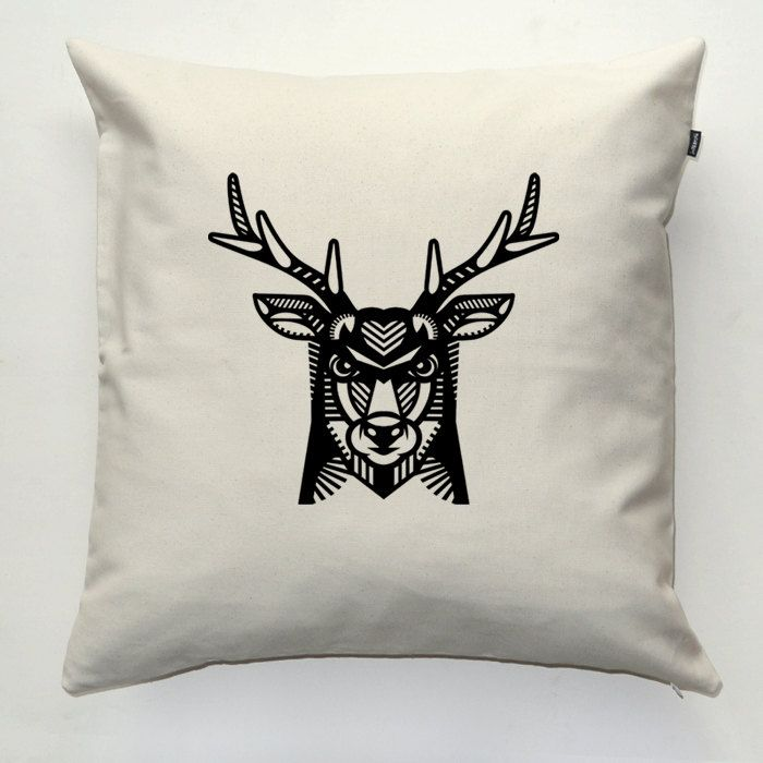 Deer, Antlers, Decorative pillow cover, pillowcase, gift, cushion case, decorative throw pillow, sofa ecru pillow by PSIAKREW on Etsy