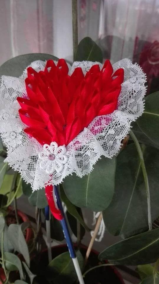 DIY.Tutorial-Red heart Kanzashi tiara(Headband)-Bentita cu inimioara de ...
