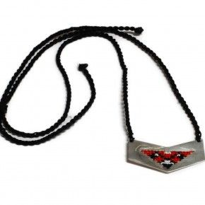 Sterling silver necklace. Handmade. Embroidered silver. Traditional patterns. Greek embroidery patterns