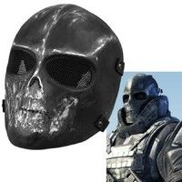 Geek | Army Skull BB Gun Game Full Face Protect Mask Guard Paintball Skeleton Black