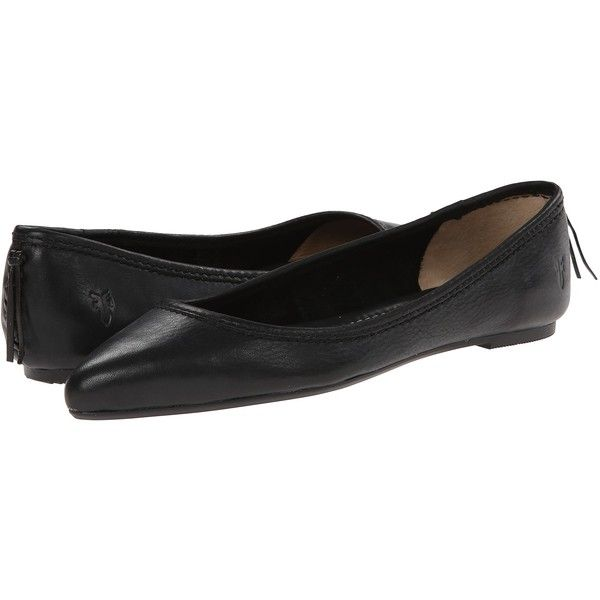 Frye Regina Ballet (Black) Women's Slip on  Shoes (€63) ❤ liked on Polyvore featuring shoes, flats, black, black slip on shoes, black flats, ballerina pumps, slip on shoes and ballet flats