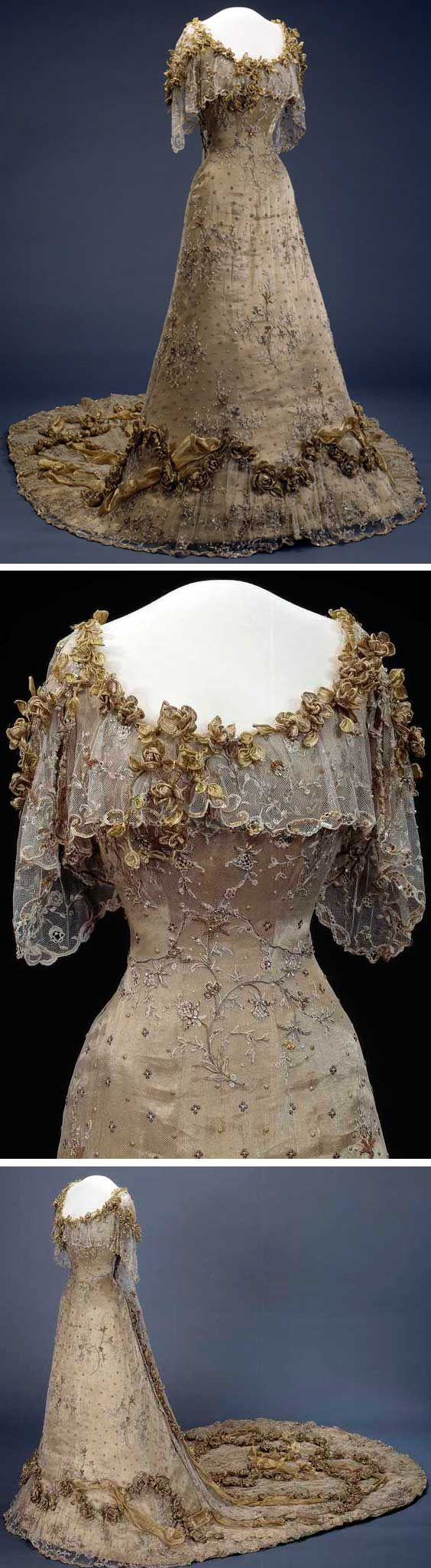 1906 or 1907 Gala dress Made for Queen Maud of Norway by Morin-Blossier, Paris. Machine- and hand-sewn gullaméstoff (I couldn't find a translation of this word), covered with silk tulle embroidered with metallic thread. Artificial diamonds and pearls, metal sequins, and gold fabric. Via National Museum for Art, Architecture, and Design, Norway