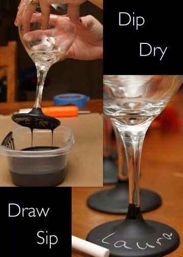 Dip dye your wineglasses! Another great excuse to drink another glas..