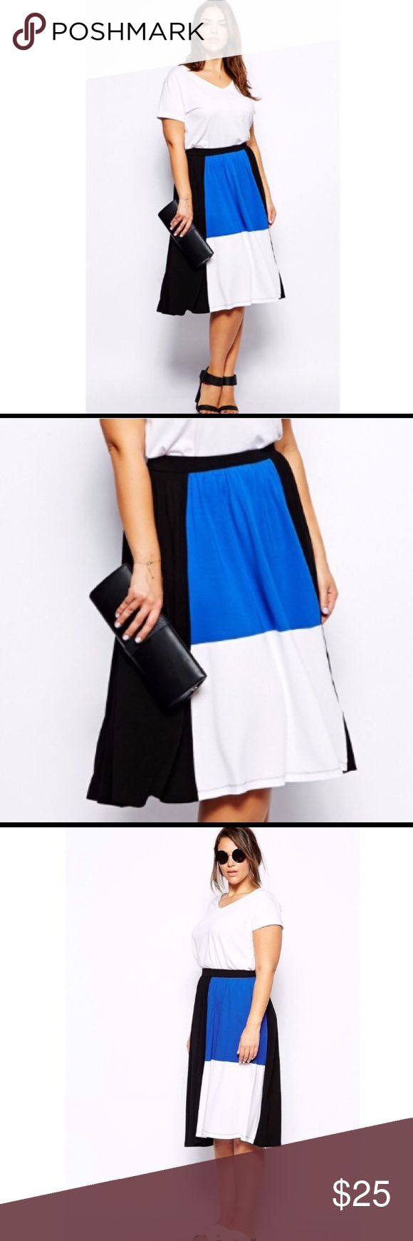 🆕ASOS Curve Color Block Midi Skirt🆕 Brand new with tags, elastic waist, soft stretchy material. Price is firm. ASOS Curve Skirts Midi