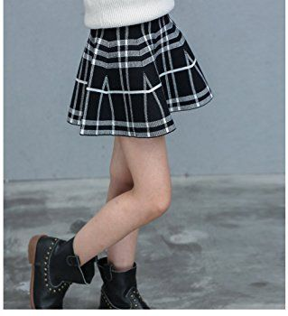 Little Girl's High Waist Plaid Stretchy Pleated Skater Skirt (3-4 Years/Asian Size 1/Fits 110 cm Tall,Black White)