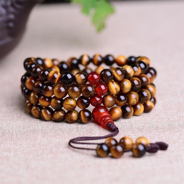 108 Tiger Eye Beads Prayer Buddha Bracelet
