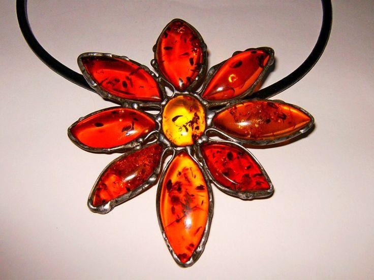 Naszyjnik kwiatek z bursztynu - Amber-Box - Kolie