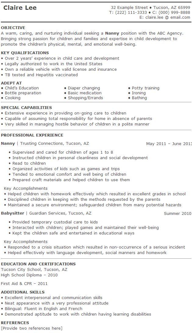 22 best resume images on Pinterest Cars, Career and First aid - babysitting on a resume