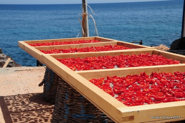 Making Sun-Dried Tomatoes by the Sea in Santorini