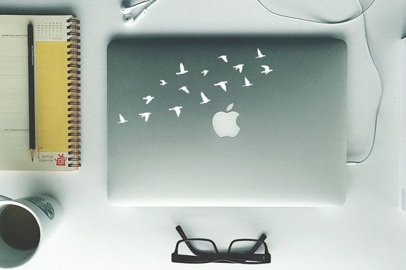 Laptop Decal  Flying Birds  Removable Vinyl by FixateDesigns
