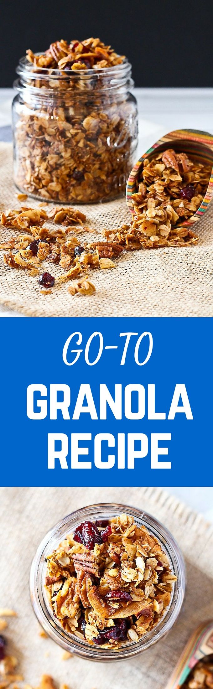 This easy granola recipe with pecans and cranberries will become your go-to granola recipe - you won't ever be buying granola from the store again. This is way too easy! Get the recipe on RachelCooks.com!