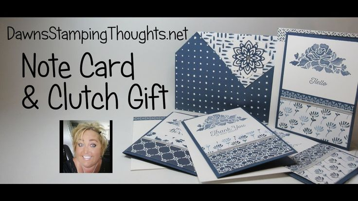 cardmaking video tutorial: gift of cards with a clutch to hold note cards ... luv the paper and use of a magnet to hold it together ... by Dawn Griffeth ... Stampin'Up!