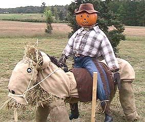 This terrific horse and rider scarecrow was created by Steve and Kay Miller in North Carolina