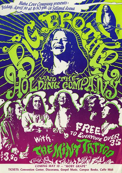 Big Brother and the Holding Company/Mint Tattoo, April 19, 1968 - Selland Arena (Fresno, CA)