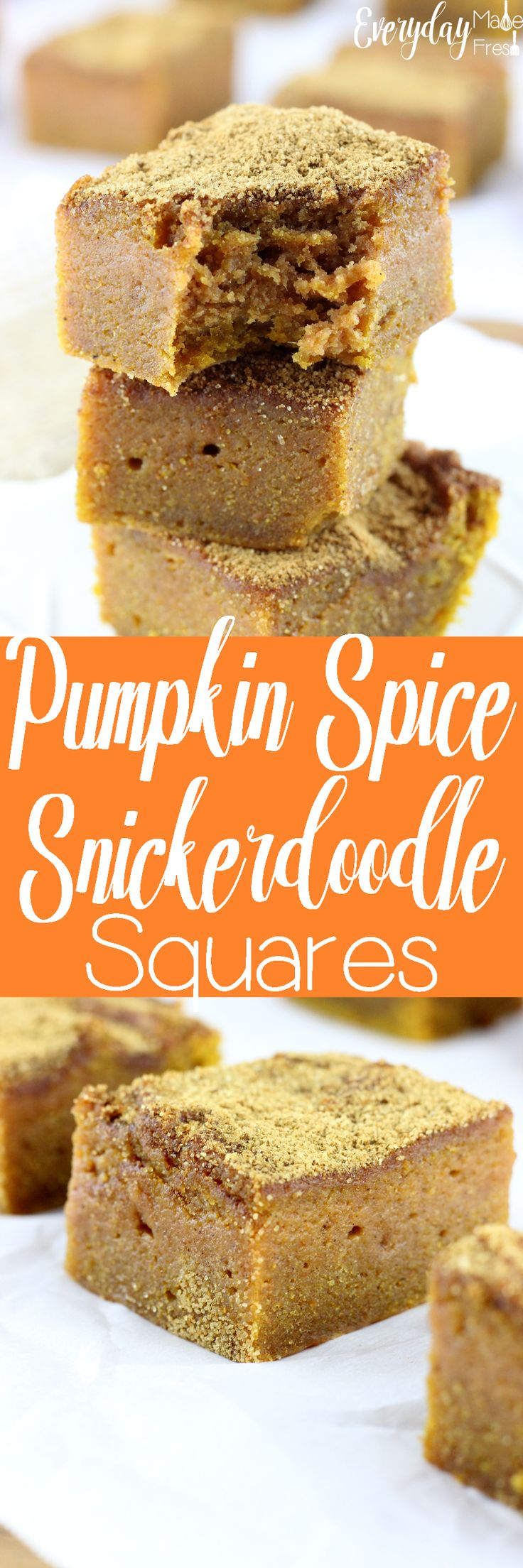 Soft and super moist, full of pumpkin spice flavor, and perfectly topped with a mixture of cinnamon and sugar goodness; these Pumpkin Spice Snickerdoodle Squares are pretty much perfection in a pan. | EverydayMadeFresh.com http://www.everydaymadefresh.com/pumpkin-spice-snickerdoodle-squares/