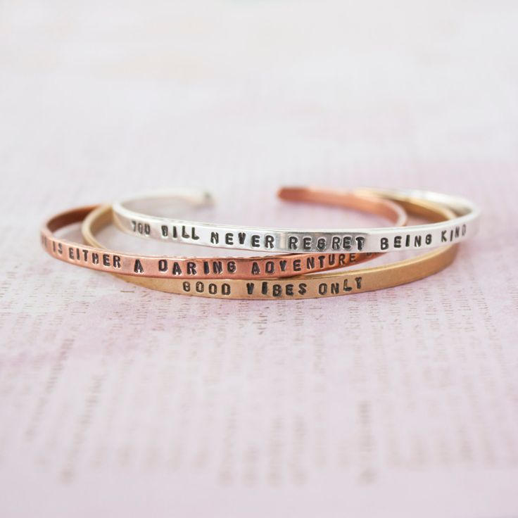Life Is Either A Daring Adventure Or Nothing At All >> Travel Inspired Copper Bracelet