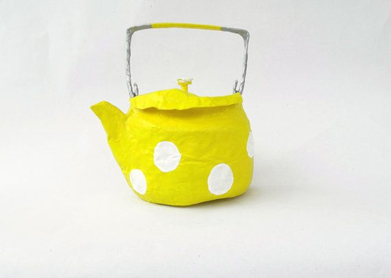 papier mache teapot bagpursefree by papiera on Etsy