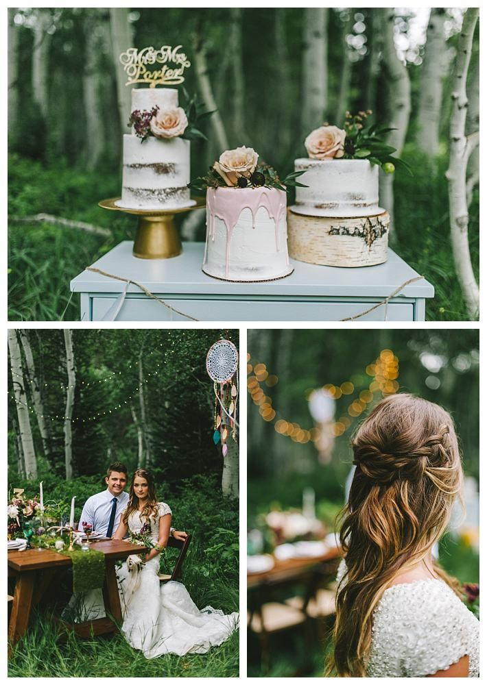 Cake table at a Bohemian mountain wedding in Utah | LDS Bride  Blog | Latter Day Bride | modest wedding dress | lace | earthy | naked cake | bohemian | mountains