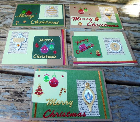 Colours of Christmas  set of 5 christmas cards by RogueKissedCraft