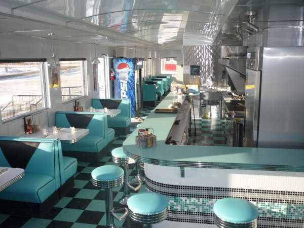 """Here's the first one of an exciting new diner manufactures in Alberta, Canada.  Made by """"Prairie City Diners"""", this is a Shaw International and Medallion Structures joint venture.  Built from the ground up, the diner itself has been patterned after the diner builders from 1930-1950 style with round corners and roof lines to resemble old train cars and are relocatable."""