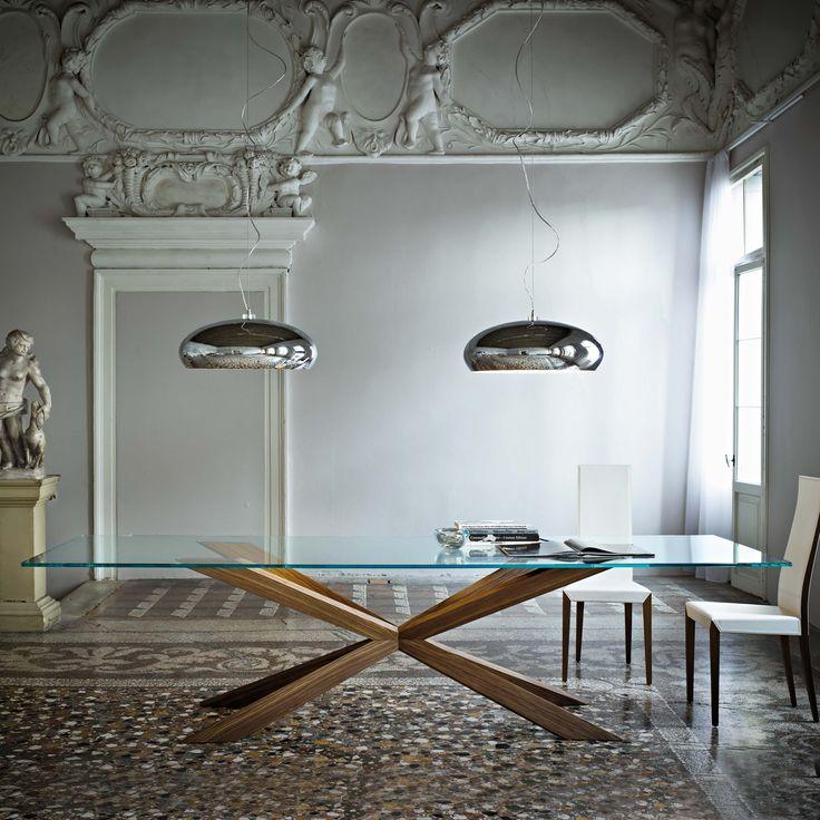 Wooden table and crystal clear mod. Spyder, Cattelan. // Mesa de madera y cristal claro mod. Spyder, Cattelan. // Tavolo in legno e cristallo trasparente mod. Spyder, Cattelan. #table #mesa #tavolo #crystal #cristal #cristallo #wood #madera #legno #cattelan