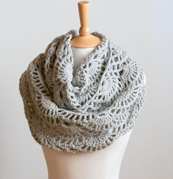 CROCHET PATTERN FOR SALE instant download - Lacy Grey Cowl - gray intricate neck warmer tutorial PDF