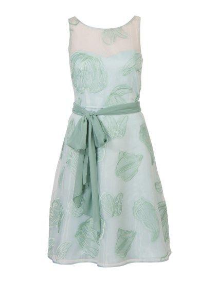 Organza jurk met strikceintuur Groen