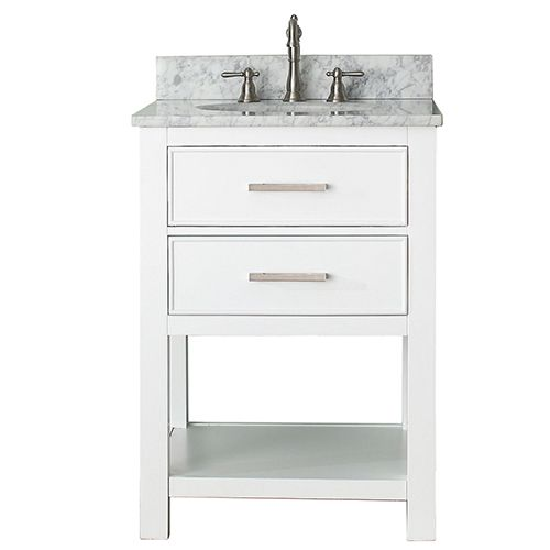 Brooks White 24 Inch Vanity Combo With Carrera White Marble Top Avanity Vanities Bathroom