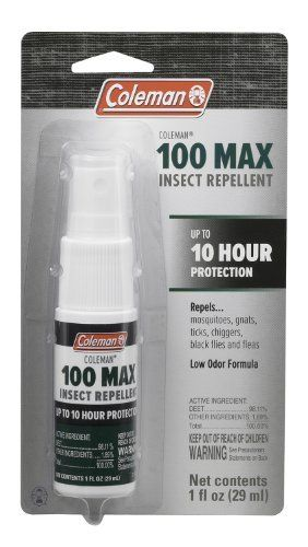 Coleman Max Deet Insect Repellant, 1-Ounce by Coleman. $7.05. For severe conditions with heavy insect activity. Also repels gnats, chiggers, ticks, black flies and fleas. Pump spray. Provides longest protection available-up to 10 hours. Repels mosquitoes that may carry diseases such as West Nile virus. Our Coleman 100% Deet Insect Repellant provides the longest protection available-up to 10 hours of protection. It's formula repels mosquitoes that may carry diseases...