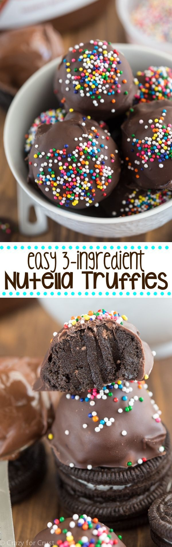 With just three ingredients, Nutella, chocolate cookies, and melted chocolate, make these delicious homemade truffles. Cover in sprinkles for a dash of color.