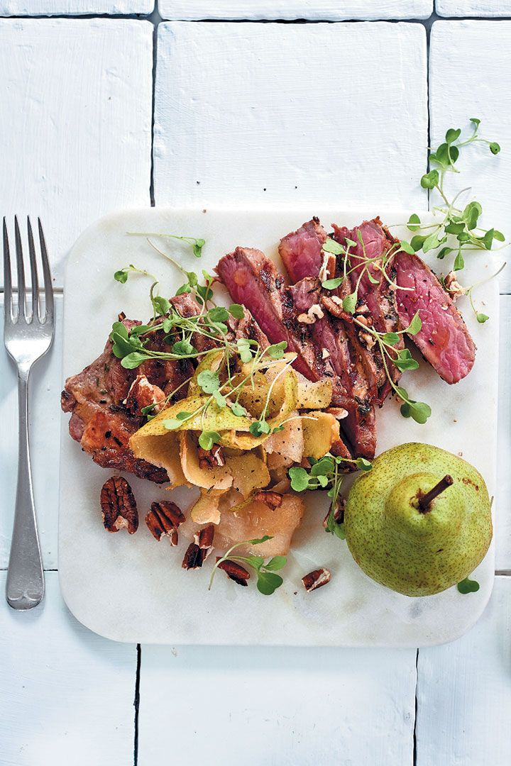 This pan-fried sirloin with shaved pear, pecan and brown butter serves two and only takes 30 mins to make - perfect for Valentine's!