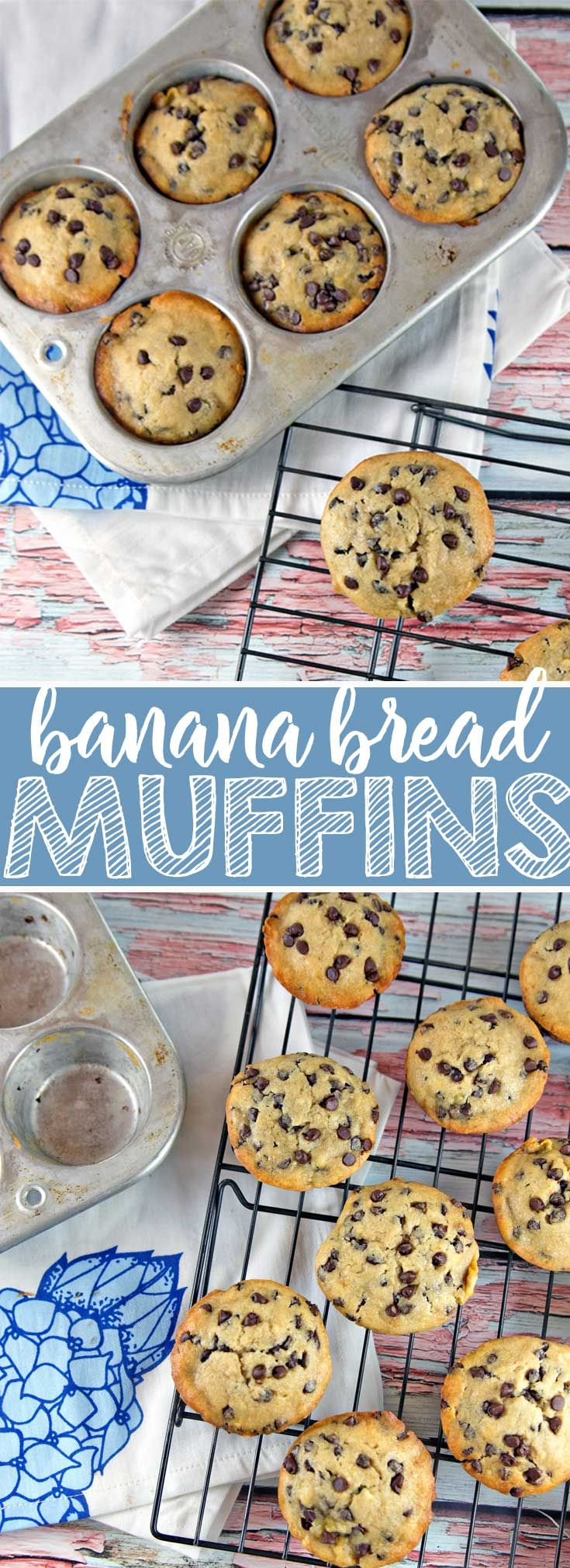 Chocolate Chip Banana Bread Muffins: one bowl, mix by hand, muffins reminiscent of your favorite banana bread. {Bunsen Burner Bakery} via @bnsnbrnrbakery
