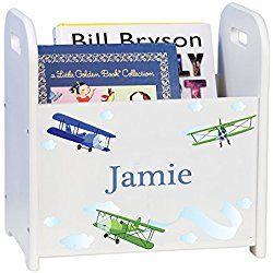 Personalized Child's Book Storage Magazine Rack - Airplane