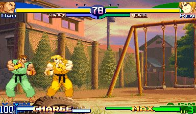"dnopls: "" in Street Fighter Alpha 3, V-Ism Dan had a pushblock like an amazing, puts-them-fullscreen-every-time pushblock """